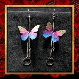 NWOT Long Colorful Butterfly Earrings   #JWL-762